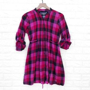 Pink Victoria Secret Plaid Tie Back Flannel Dress